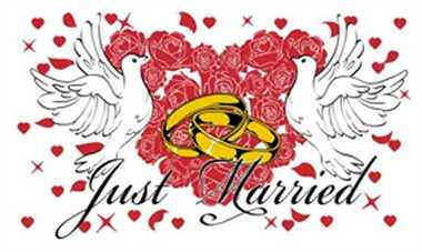 Just Married 3 weiß Flagge 90x150 cm
