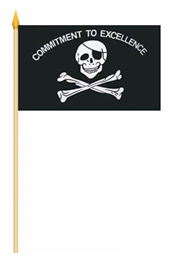 Pirat - Commitment to Excellence Stockflagge 30x45 cm