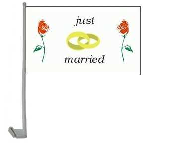 Just Married rote Rosen Autoflagge 30x40 cm