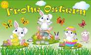 Ostern-Frohe Ostern weiße Hasenkinder Flagge 90x150 cm